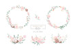 Leinwandbild Motiv Watercolor floral wreath and bouquet frame illustration with cotton balls peach color, white, pink, vivid flowers, green leaves, for wedding stationary, greetings, wallpapers,  background,