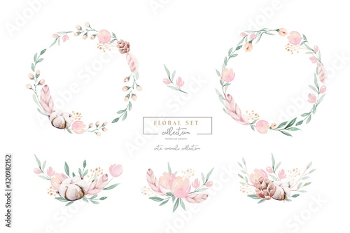 Watercolor floral wreath and bouquet frame illustration with cotton balls peach Fotobehang