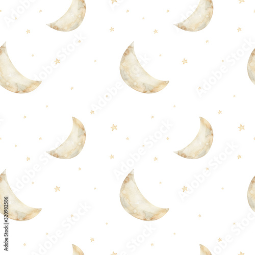 Watercolor seamless pattern moon and stars. Nursery wallpaper children's room. Kids Good night. Baby boy and girl sleeping shower party elements. Perfect for prints, postcards, greeting