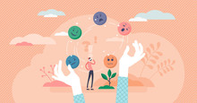Juggling Emotions, Flat Tiny Persons Vector Illustration