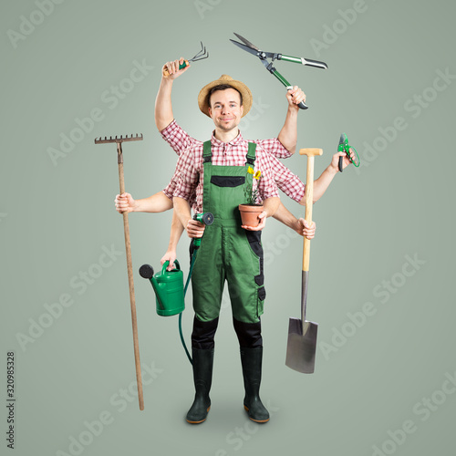 Stampa su Tela Smiling gardener with multiple arms and tools