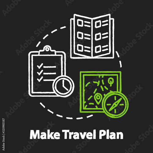 Make travel plan chalk RGB color concept icon Wallpaper Mural