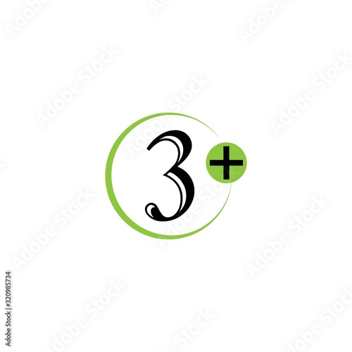 3 plus icon symbol vector illustration design template Canvas Print