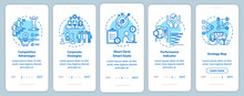 Competitiveness Onboarding Mobile App Page Screen With Concepts. Corporate Job And Career. Optimization Walkthrough 5 Steps Graphic Instructions. UI Vector Template With RGB Color Illustrations