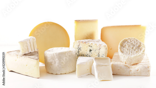 Fototapeta selection of various french cheese portion isolated on white background obraz