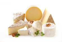 Various French Cheese Portion Isolated On White Background