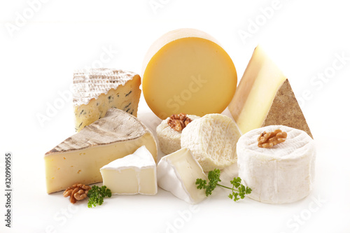Fototapeta various french cheese portion isolated on white background obraz