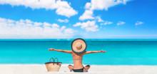 Beach Woman Happy Carefree Wit...