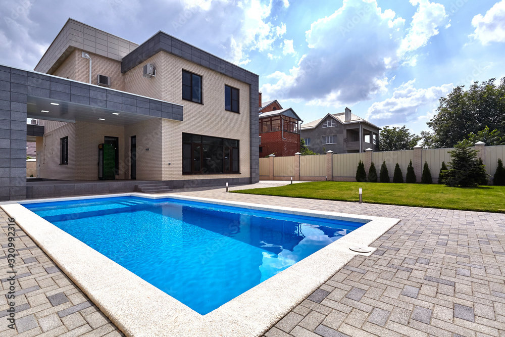 Fototapeta house with pool