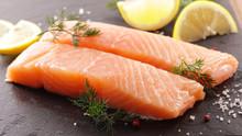Raw Salmon Fish Fillet And Lemon