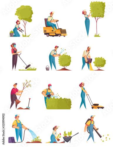 Gardener Icons Set Fototapet