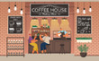 Barista making coffee for couple. Man and woman enjoying tasty beverage in cafe talking and chatting. male and female friends in restaurant on weekends. Interior of coffeehouse with decor vector