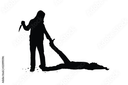 Canvas Print assassin kill victim silhouette vector