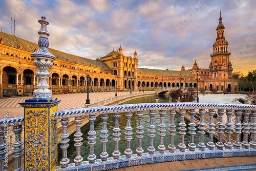 mata magnetyczna Plaza de Espana in Seville, Andalusia, Spain