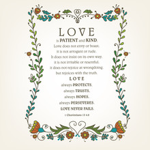 Bible Quote Love Is Patient, Kind, Made With Hearts. Biblical Background. Christian Poster. Card. Scripture Print.