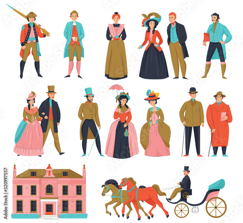 Medieval Fashion People Set Wall mural