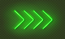 Neon Arrow Lamp Wall Sign Isolated On Transparent Background. Vector Green Power Glowing Bulb Banner, Light Line Element..