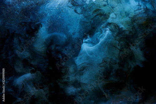 Obraz Abstract blue outer space science background. Vibrant colors galaxy sky, ocean, sea. Mystical liquid chemicals smoke, chemistry and biology creative backdrop paper - fototapety do salonu