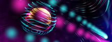 Smart World Technology Cyber Digital World Technology IOT World Concept. 3D Neon Light Globe Star Orbit Shiny Light Backgrounds