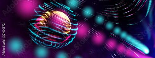 Obraz Smart world technology cyber digital world technology IOT world concept. 3D neon light globe star orbit shiny light backgrounds - fototapety do salonu