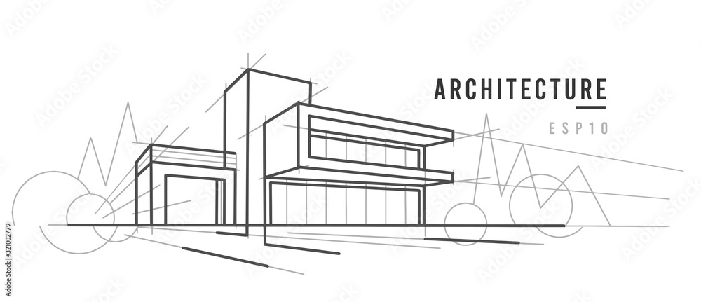 Fototapeta Modern architecture sketch. Line drawing.  Vector, text outlined.