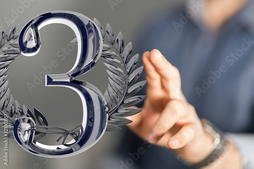 Fototapeta Three or 3  Years award Digital number award Anniversary 3d. obraz