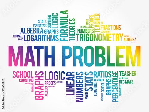 Math problem word cloud collage, education concept background Canvas Print