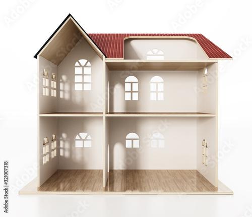 Valokuvatapetti Classic wooden dollhouse isolated on white background