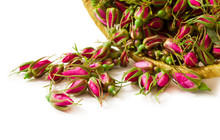 Rose Buds In Basket Isolated O...