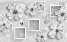 3D Wallpaper Design With Flora...
