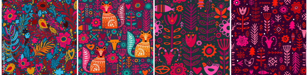 Abstract Folk nordic seamless pattern. Vector