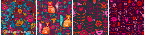 Foto Abstract Folk nordic seamless pattern. Vector