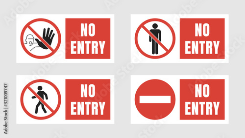 Fototapeta no entry sign set, no people allowed labels and stickers