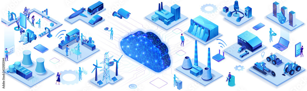 Fototapeta Industrial internet of things infographic horizontal banner, blue neon concept with factory, electric power station, cloud 3d isometric icon, smart transport system, mining machines, data protection