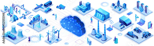 Obraz Industrial internet of things infographic horizontal banner, blue neon concept with factory, electric power station, cloud 3d isometric icon, smart transport system, mining machines, data protection - fototapety do salonu