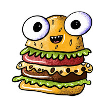 Cute Monster Burger On An Isol...
