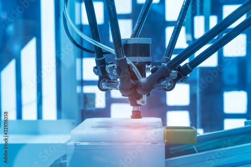 robotic pneumatic piston sucker unit on industrial machine,automation compressed Canvas Print