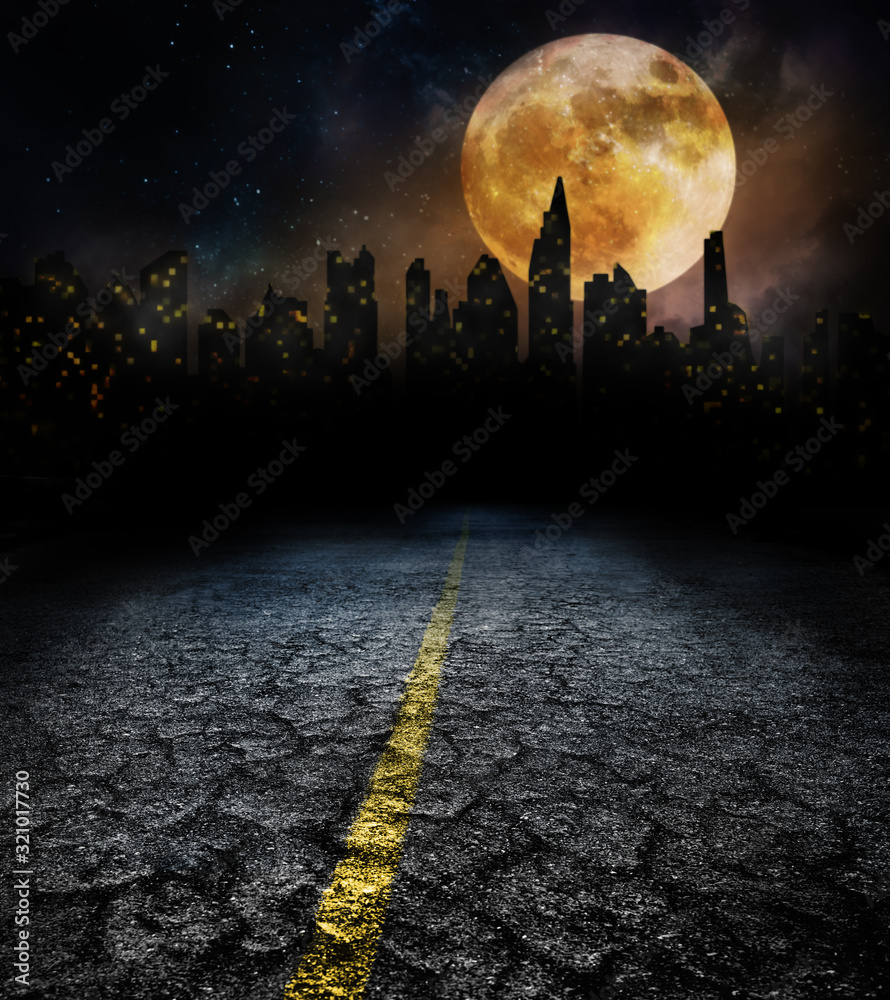 Fototapeta city lights in night and old road with full moon