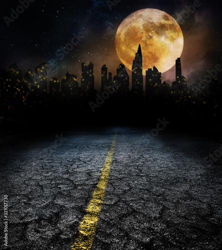 Fotografie, Obraz city lights in night and old road with full moon