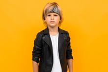 European Blond Boy In A Black ...