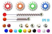 Realistic Colored Pinball Elem...