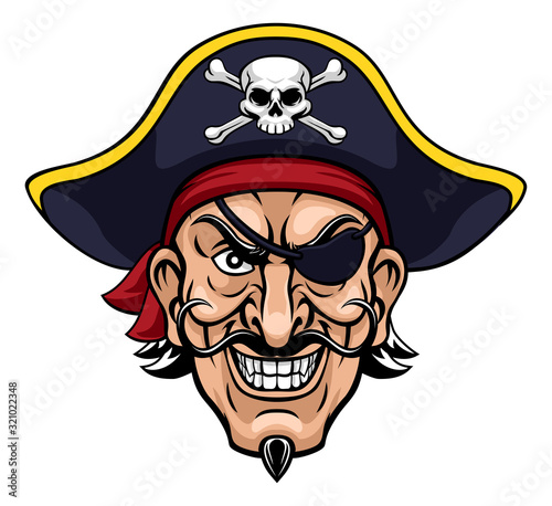 A pirate cartoon character captain mascot face with skull and crossed bones on his tricorne hat