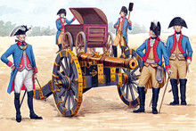 German Artillery Crew Illustration. Soldiers And Officers Before The Battle. Cannon Illustration.