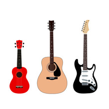 A Set Of Guitars. Acoustic Guitar, Electric Guitar And Ukulele. Stringed Musical Instruments On A White Background. Flat Style