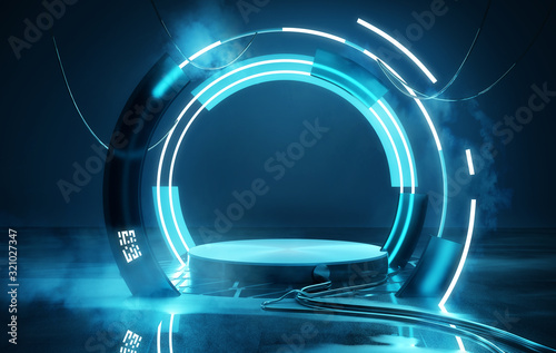 Empty Blue neon futuristic lighting stage and platform, product placement 3D illustration Canvas Print