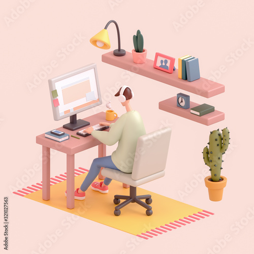 Young man sitting at office desk working on a computer Wallpaper Mural