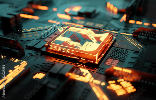 Fototapeta Futuristic CPU processor and machine learning concept. 3D illustration obraz