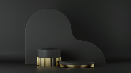 3d render, minimalist black gold background. Empty cylinder podium, vacant pedestal, round stage, showcase stand, product display, platform. Abstract architectural elements. Copy space. Premium design