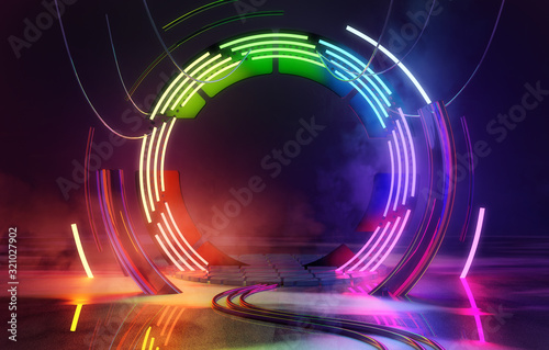 Neon Colorful Loops Empty Stage Lights Background Wallpaper Mural