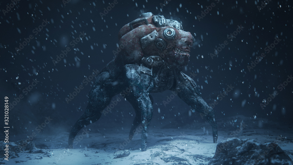 Fototapeta 3d illustration of a cyberpunk scary monster spider standing on snowy ground with falling snow in the night scene. Futuristic post apocalypse mutant in metal armor. Concept art sci- fi alien character
